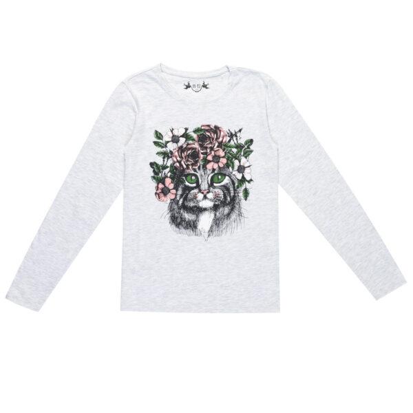 Majica za djevojčice, melange siva
