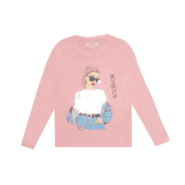 Majica - curice, svjetlo roza